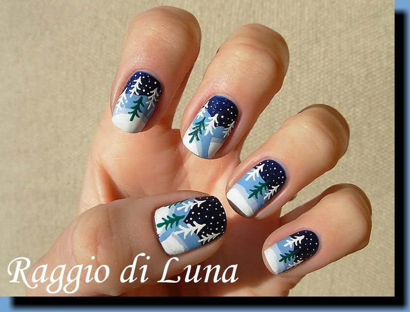 Winter trees nail art by Tanja