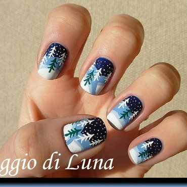Winter trees nail art by Tanja
