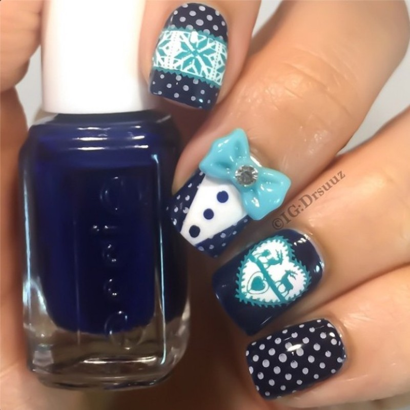 Blue Snowflake Bow Polka Dot Stamping Nails nail art by Born Pretty