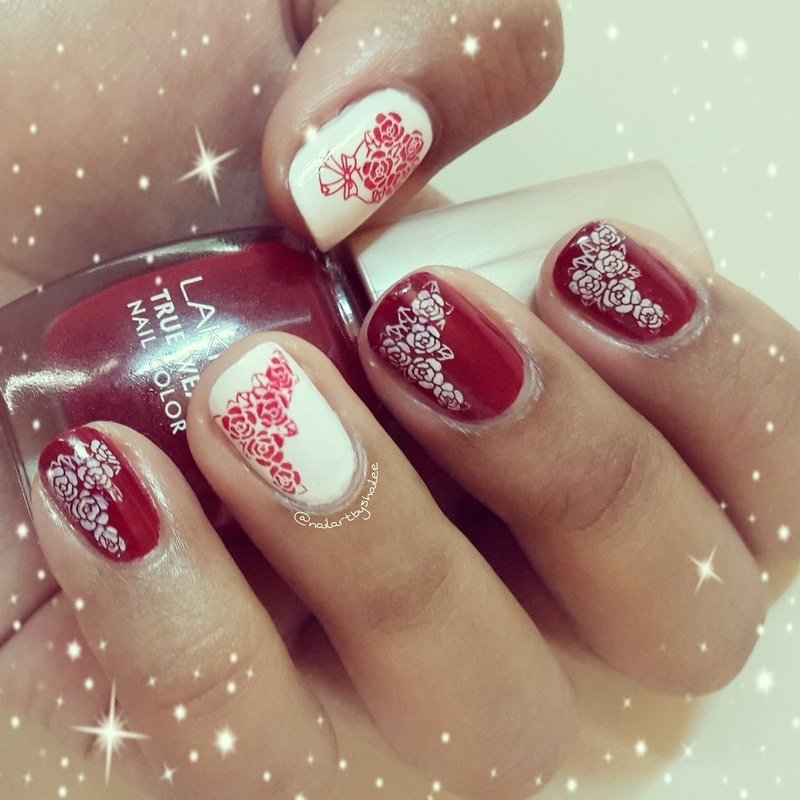 stamping floral nails using christmas colors nail art by Shailee