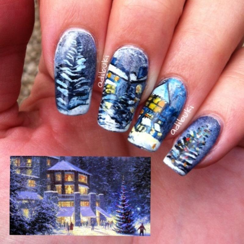 Winter Wallpaper nail art by Adi Buki