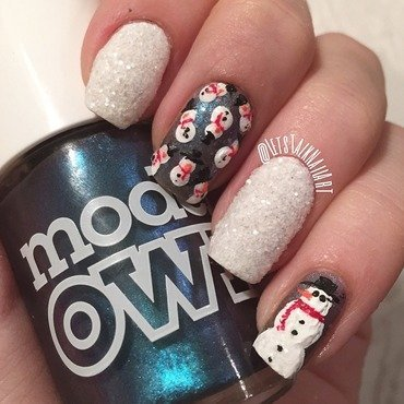 Snowmen and snow nail art by Lottie