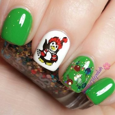 Christmas penguin! nail art by lovepurplepolish