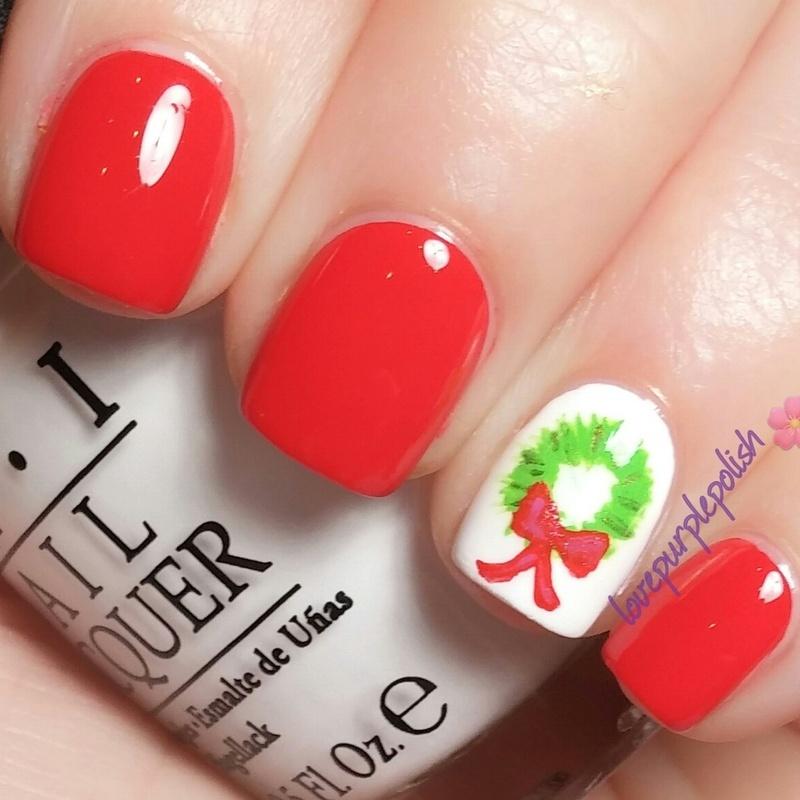 Christmas wreath nail art by lovepurplepolish