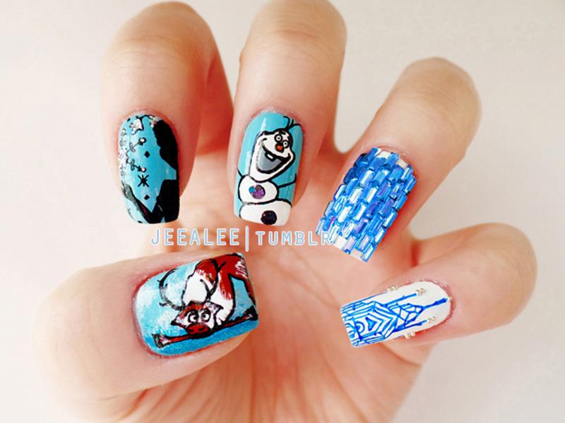 Frozen Nails nail art by JeeA Lee