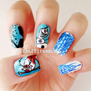 Frozen Nails nail art by JeeA Lee