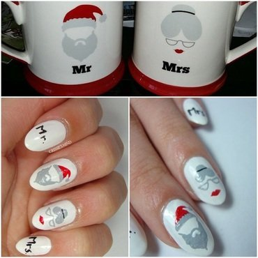 MR. AND MRS. CLAUS nail art by Christina