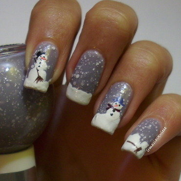 snowman nail art by irma