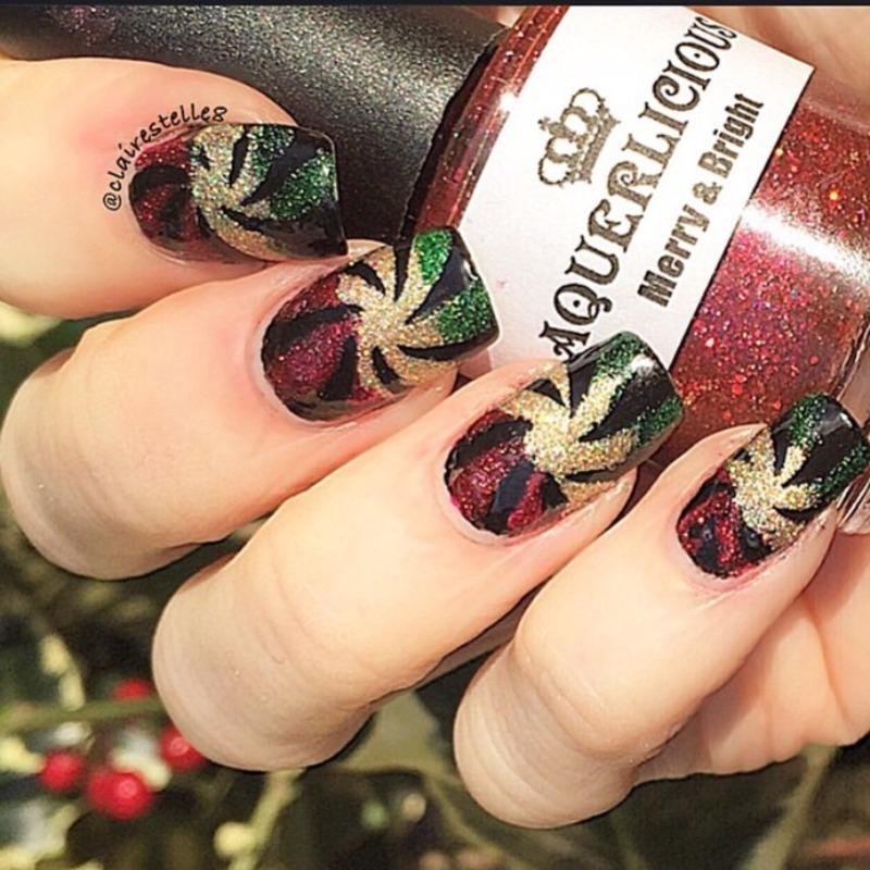 Festive candy swirls nail art by Claire O'Sullivan