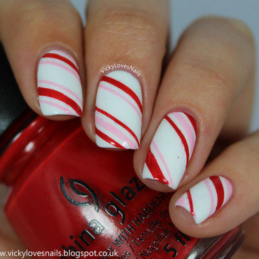 Candy Cane Stripes nail art by Vicky Standage