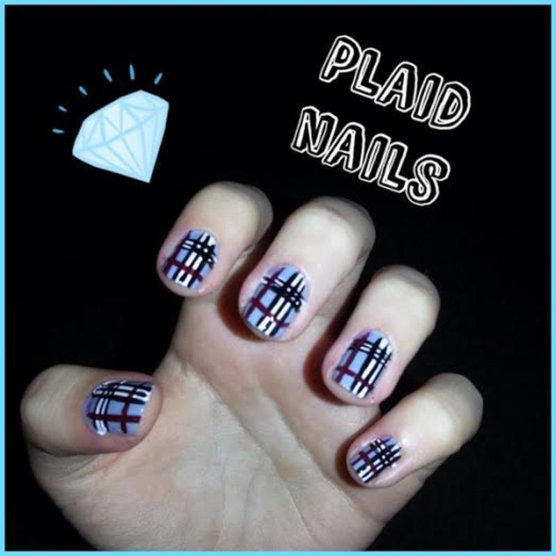 plaid nails nail art by Ciara Donoghue