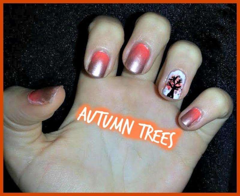 autumn trees nail art by Ciara Donoghue