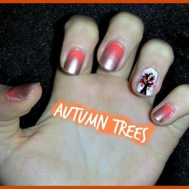 autumn trees nail art by Ciara Donoghue