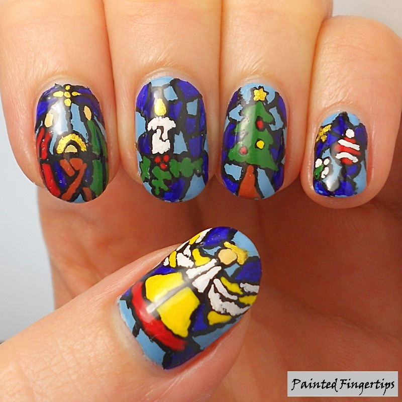Christmas stained glass nail art by Kerry_Fingertips - Nailpolis ...