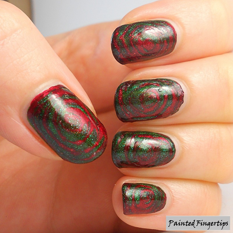 Red and green needle drag nail art by Kerry_Fingertips