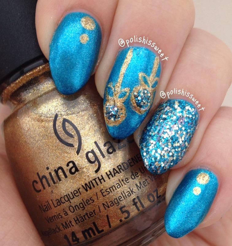 Glittery Ornaments! nail art by PolishIsSweet