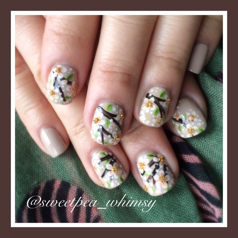 Cherry Blossoms on Taupe nail art by SweetPea_Whimsy