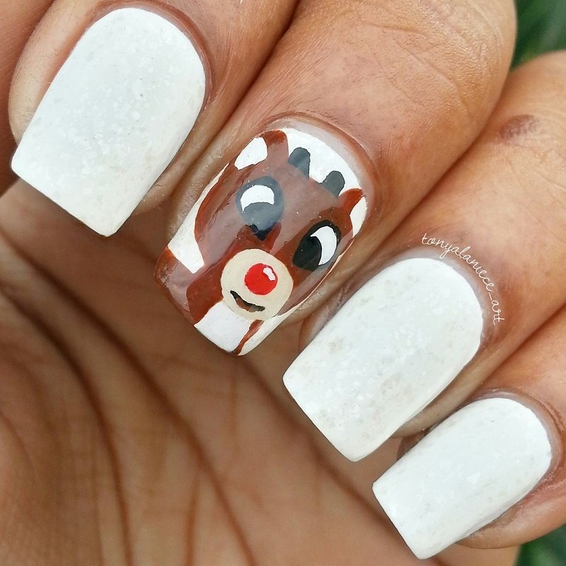 Reindeer Nail Art: Rudolph The Red Nose Reindeer Nail Art By Tonya