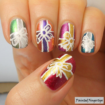 Wrapped presents nail art by Kerry_Fingertips