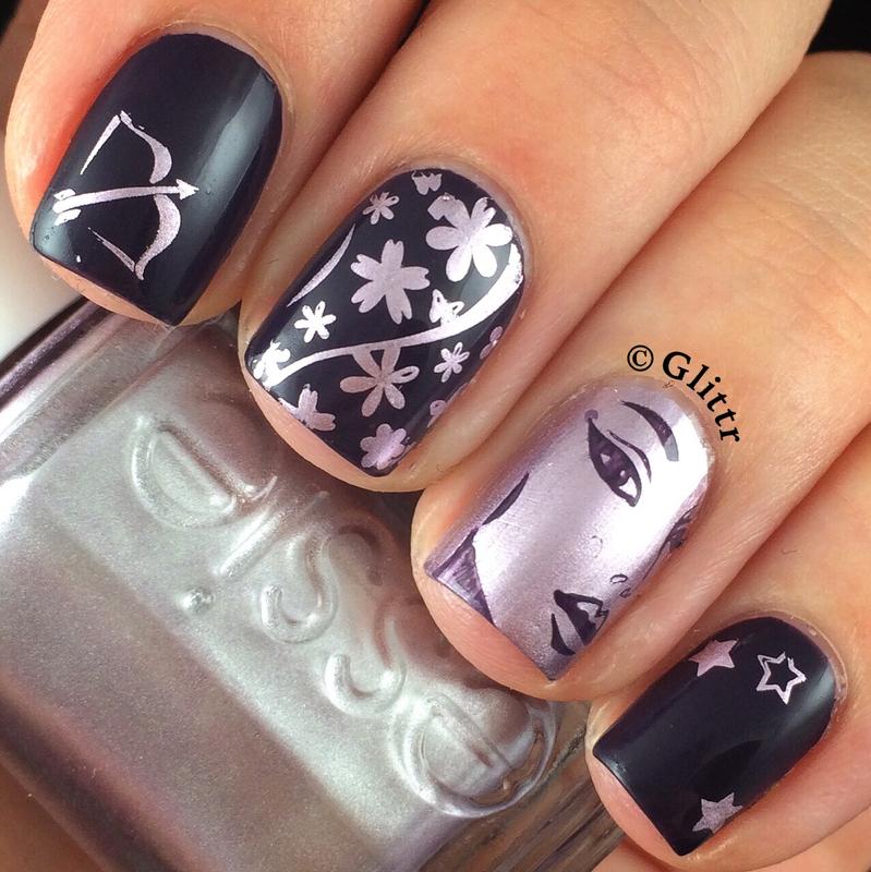 Sagittarius Birthday Mani nail art by Glittr