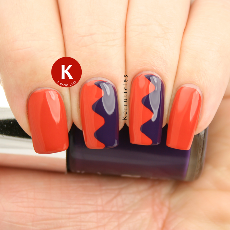 Orange and purple curvy zigzags nail art by Claire Kerr