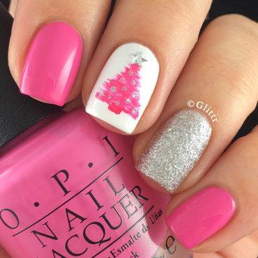 Pink Christmas Tree nail art by Glittr