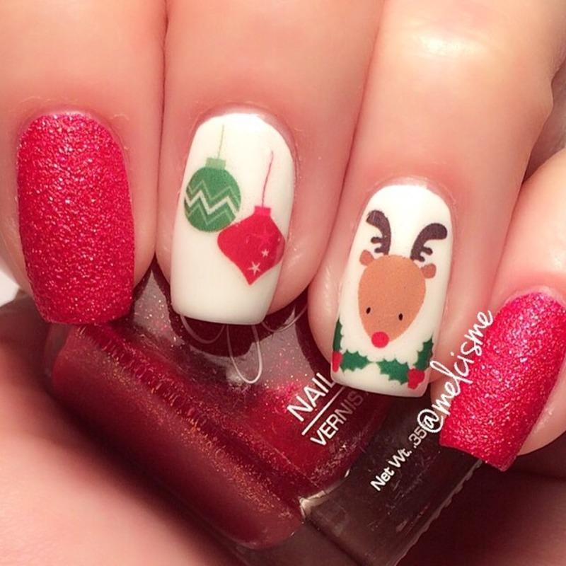 Rudolf  nail art by Melissa