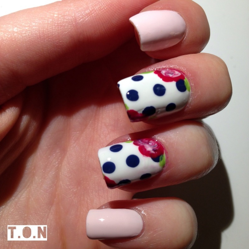 Floral Polkadots nail art by Tipped Off Nails