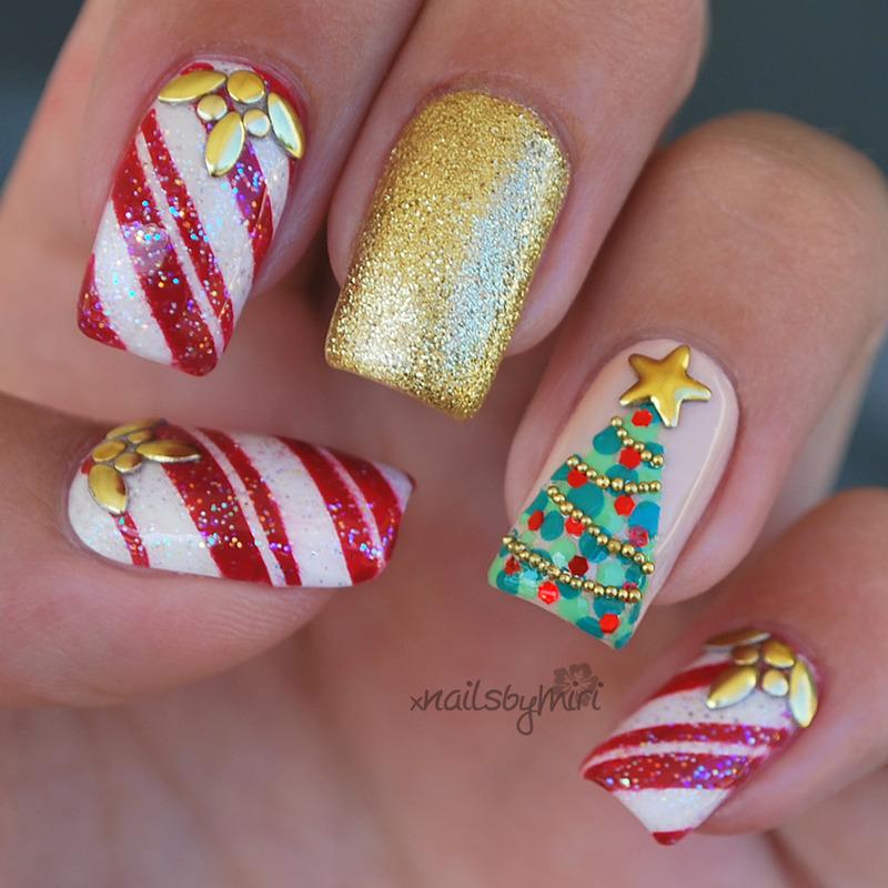 Christmas Nails nail art by xNailsByMiri