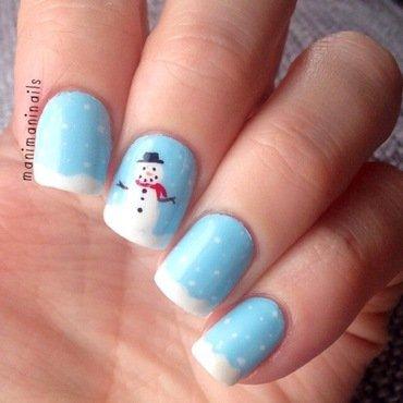 Snowman nails nail art by manimaninails