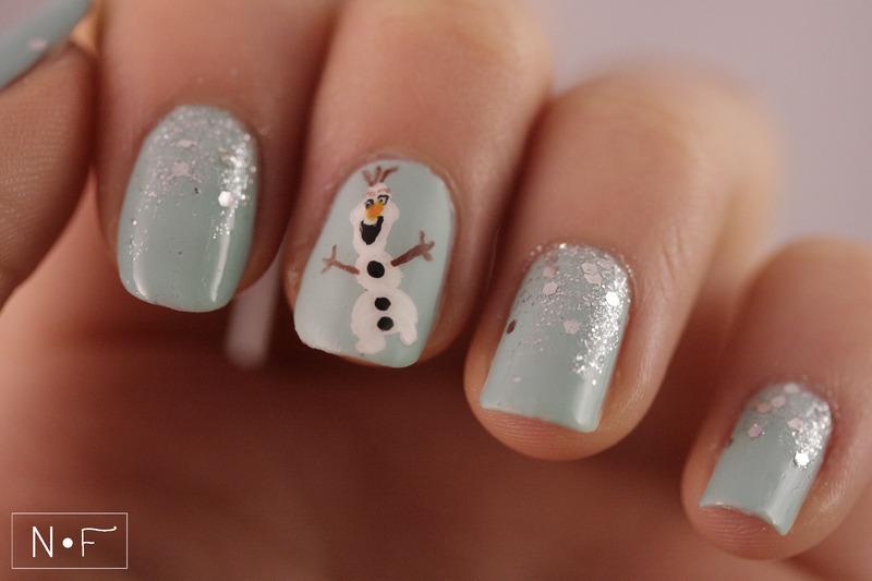 Celebrating winter with Olaf nail art by NerdyFleurty