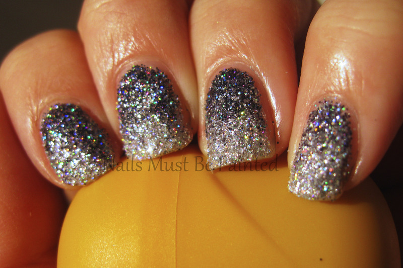 Grey Glitter Gradient nail art by Emily