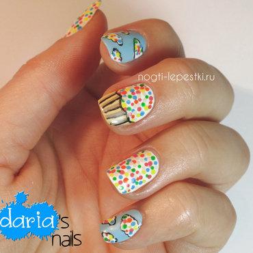 Confetti and cupcakes nail art by Daria B.