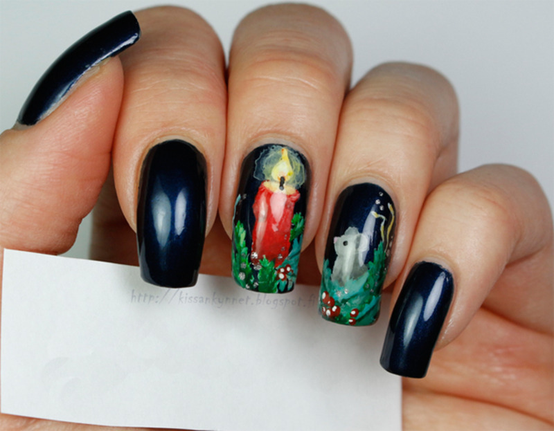 Little Mouse's Christmas nail art by Yue