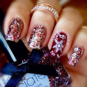 Snowflakes and Red Glitter nail art by Debbie