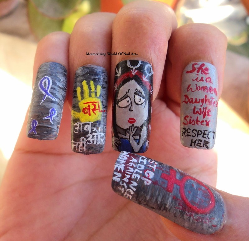 STOP VIOLENCE AGAINST WOMEN nail art by Anubhooti Khanna
