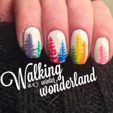 Rainbow Christmas nail art by Lottie