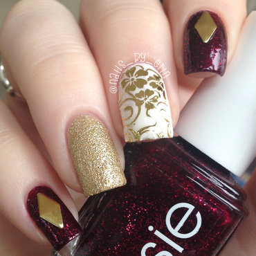Deep Red and Gold Nails nail art by Erin