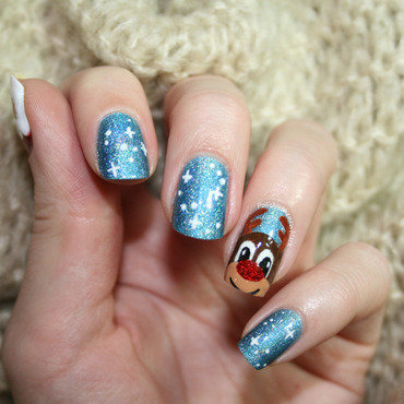 Rudolph the Red Nosed Reindeer nail art by Polishisthenewblack