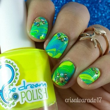 Acid under the sea nail art by Cristina Alvarado