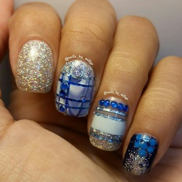 Blue Machine nail art by Milly Palma