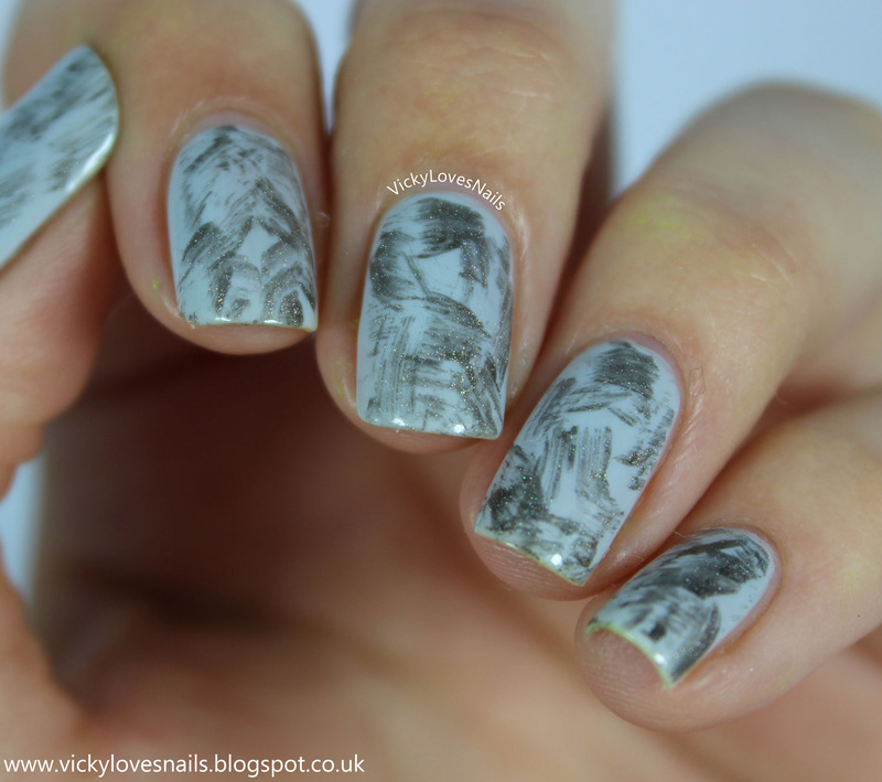 Grey Distressed Nails nail art by Vicky Standage