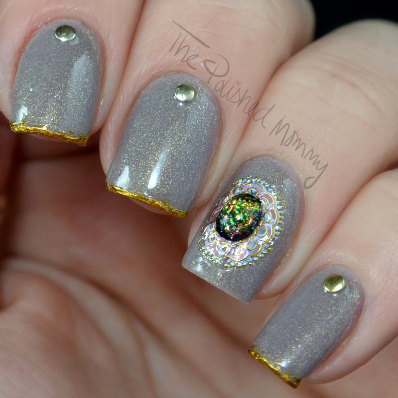 Gilded and Bejeweled nail art by The Polished Mommy