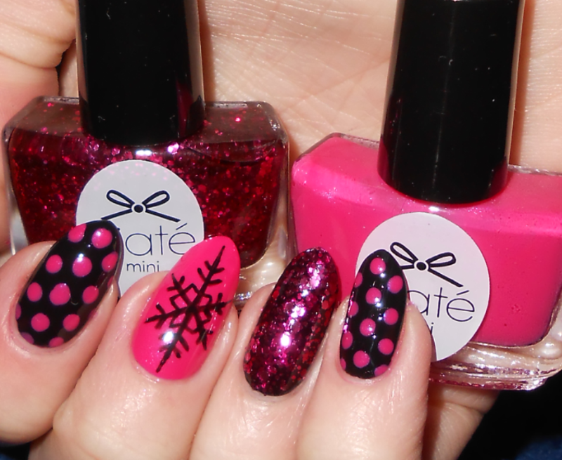 Pink Xmas Skittle nail art by MyMintNails