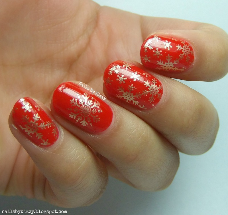 Stamped Christmas Snowflakes nail art by Kizzy