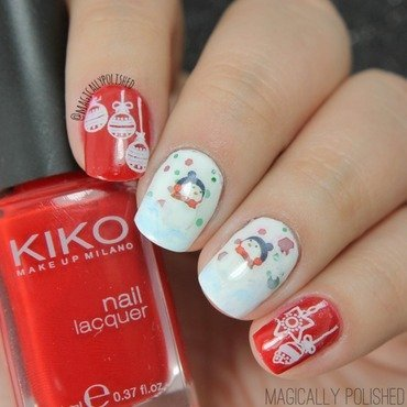 Lovely Christmas Water Decals Nails  nail art by Born Pretty
