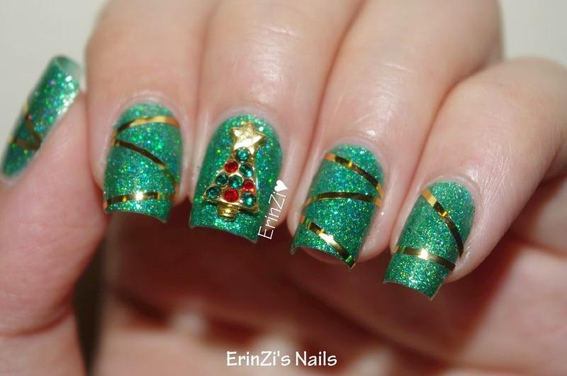 Stunning Rhinestoned Christmas Tree Manicure  nail art by Born Pretty