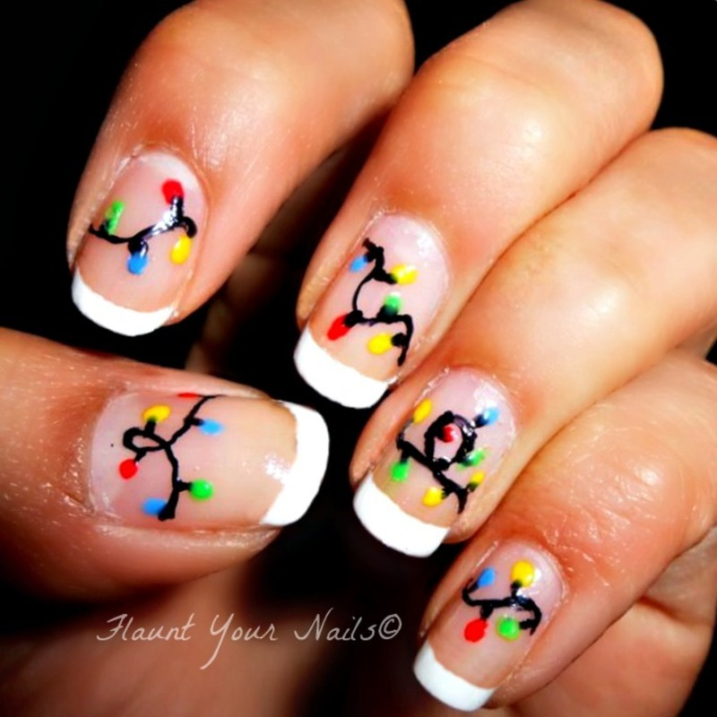 Christmas Lights nail art by Vidula Kulkarni