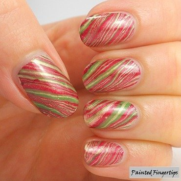 Christmas water marble nail art by Kerry_Fingertips