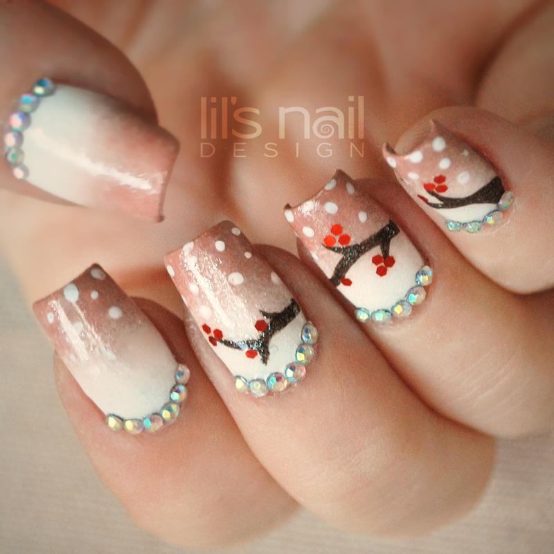 Snow Berries nail art by Lily-Jane Verezen